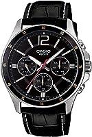 ساعة يد رجالية بسوار من الجلد ومينا لون اسود من كاسيو - MTP-1374L-1