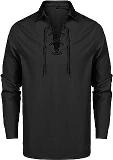 Men's Scottish Jacobite Ghillie Kilt Shirt Lace Up Long Sleeve Medieval Shirts Tops S-XXL