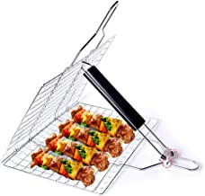 Barbecue Grill Basket, Foldable Non Stick Stainless Steel Wire Mesh Net Clip, Portable BBQ Grill Tool with Handle for Fish...