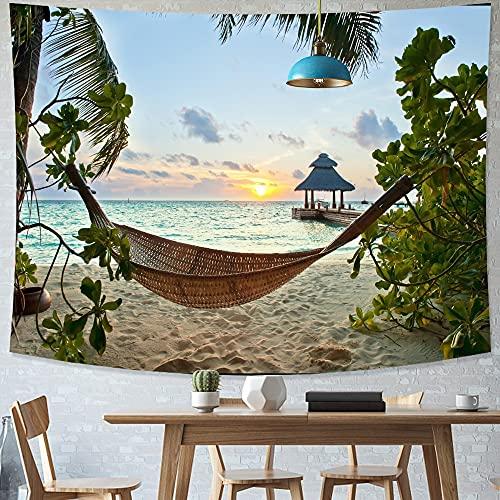 Tapiz de playa tropical estilo nórdico cielo estrellado fondo tapiz de tela tapiz hippie dormitorio tapiz psicodélico A1 180X230CM