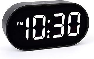 [Updated Version] LED Alarm Clock - Plumeet Digital Clocks with Adjustable Brightness Dimmer and Alarm Volume - Blue Digit...