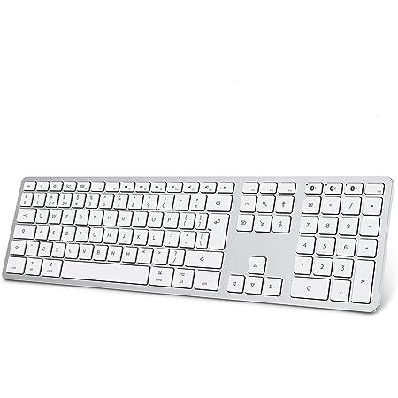 OMOTON Teclado Bluetooth para Apple MacBook/iMac/MacBook Pro/Air, teclado inalámbrico recargable de tamaño completo con teclado numérico ...