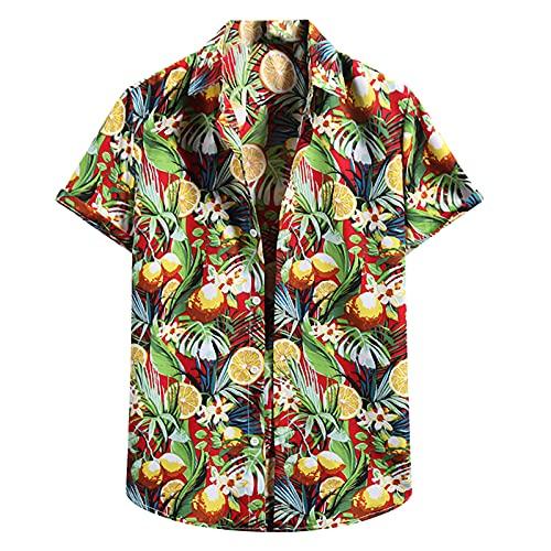 Camisa para hombre con aspecto de lino, camisa de lino de manga corta, holgada, estilo retro, étnico, para el tiempo libre, verano, playa, estampado, burdeos, M