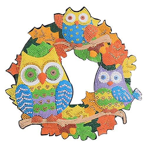 JIUYECAO Decoración de corona en forma de bricolaje, corona de bricolaje para decoración de pared de la puerta del hogar, bordado especial del taladro
