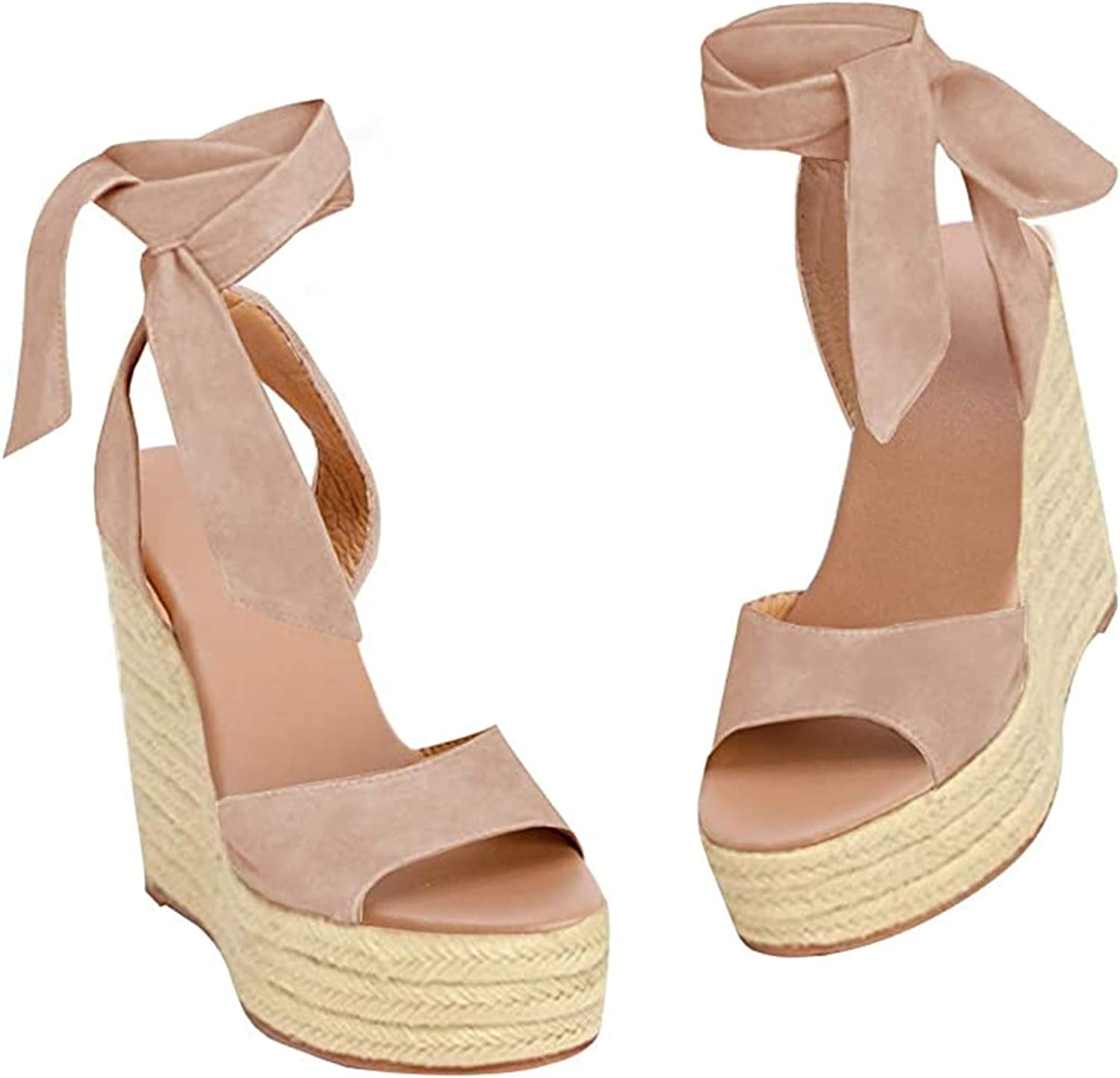 Seraih Womens Lace up Platform Wedges SALENEW very popular Classic At the price Sandals Stra Ankle