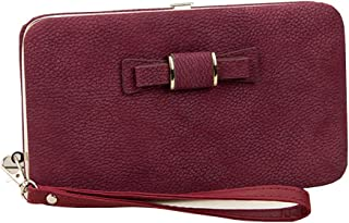 Women Girl Bowknot Phone Zipper Wallet with Detachable Wriststrap