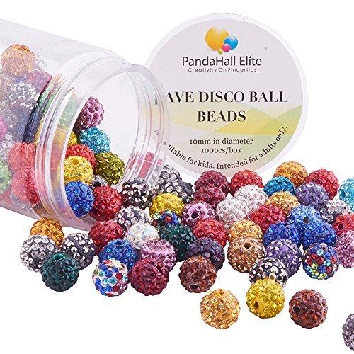 PandaHall Elite 100 Stück 10mm Runde Kristall Strass Pavé Locker Spacer Perlen Ball Ton Gemischte Farben für DIY Schmuck