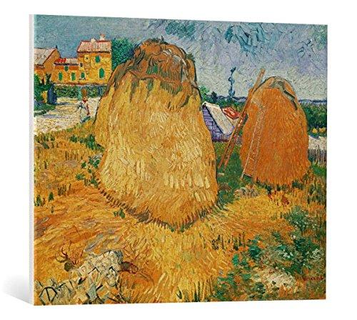 Kunst für Alle Cuadro en Lienzo: Vincent Van Gogh Haystacks in Provence - Impresión artística, Lienzo en Bastidor, 80x65 cm