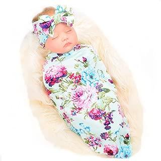 Newborn Receiving Blanket Headband Set Flower Print Baby Swaddle Receiving Blankets