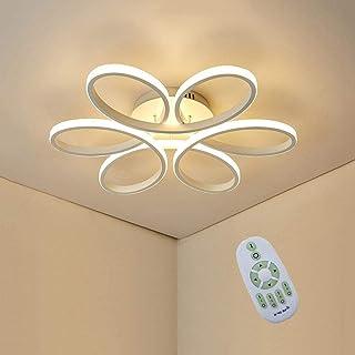 100W LED De Luz De Techo, Creativa De La Flor De Techo En Forma De Luz, Aluminio Blanco Cuerpo De La Lámpara De Acrílico Pantalla Salón Dormitorio Luz De Techo, Regulable 3000K~6000K Φ74 * H10cm [