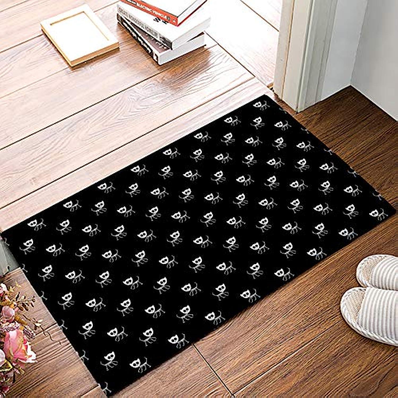Family Decor Entrance Door Mat Rug Indoor Outdoor Front Door Shower Bathroom Doormat, Non-Slip shoes Scraper Carpet 20  X 31.5  - Black Skull Cat
