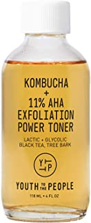 Youth To The People Kombucha + 11% AHA Exfoliation Power Toner - Vegan Facial Toner with Lactic Acid + Glycolic Black Tea ...