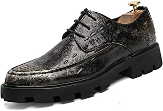 RongAi Chen Fashion Oxford for Men Formal Shoes Lace Up Style PU Leather Comfortable Personality Crocodile Pattern Stitching Outsole (Color : Silver, Size : 8 UK)