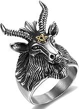 Jude Jewelers Stainless Steel Satan Worship Ram Goat Head Ring Aries Zodiac Biker Gothic Punk Hiphop