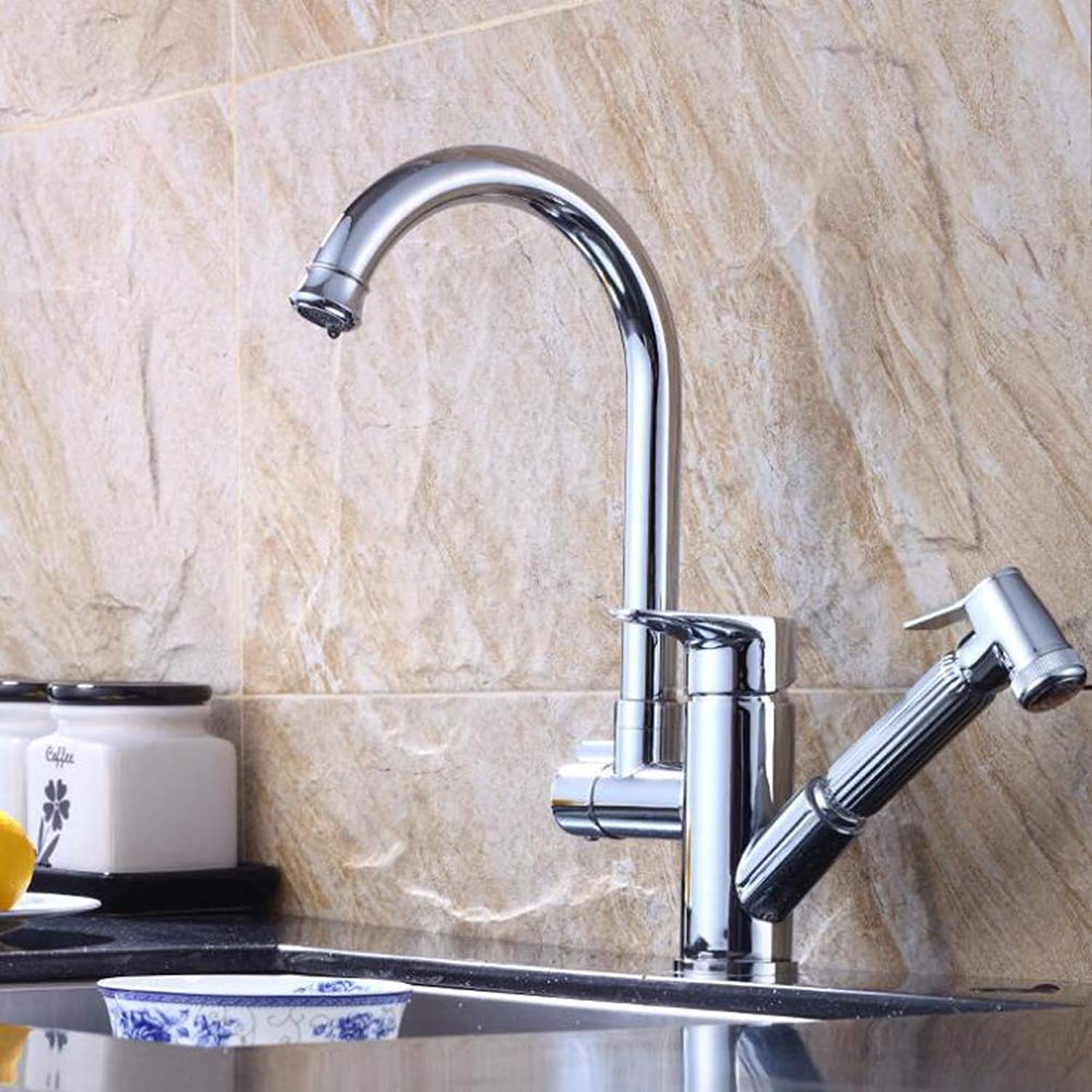 Bathroom Kitchen Sink Faucet,Silver One Handle Dual Functional Shower Head Pull-Out Hand-Shower Hot aBrass Chrome.