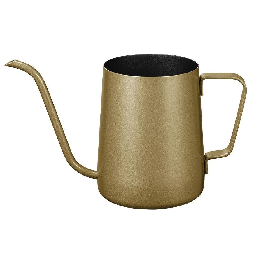 丁寧エンジン改修するkslong ステンレス製の手パンチポットコーヒーポット長い口のポット細かいオープニングポットコーヒーケトルグースネックポット(ゴールド、350ミリリットル) 350ミリリットル ゴールド