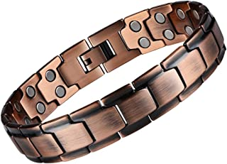 eDecor Pure Copper Bracelet for Men,Magnetic Therapy Bracelet for Arthritis Pain Relief Double Row Strong Magnets 3500 Guss with Link Removal Tools