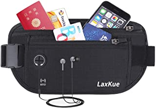 LaxKue セキュリティポーチ スキミング防止 超薄型 ウエストポーチ パスポートケース RFID 旅行 ウエストバッグ ランニングベルト 防犯グッズ アウトドア 【防水LYCRA生地】 旅行用品 貴重品入れ 盗難対策 軽量 iPhone 7 Plus /8 Plus/XS Max 収納可 ブラック