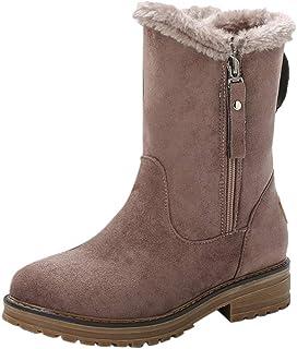 Women Winter Snow Boots, Ladies Solid Round Toe Side Zipper Warm Booties Non-slip