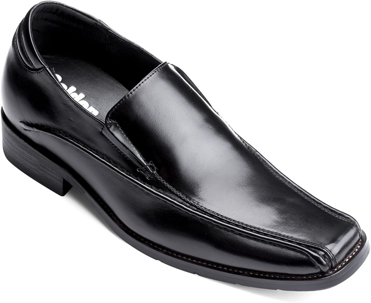 Calden Men's Invisible Height Increasing Elevator Shoes - Black Premium Leather Slip-on Lightweight Formal Dress Loafers - 2.6 Inches Taller - MD370