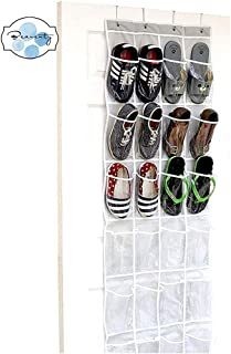 Beauenty 24 Pockets - SimpleHouseware Crystal Clear Over The Door Hanging Shoe Organizer, Gray (64'' x 19'')