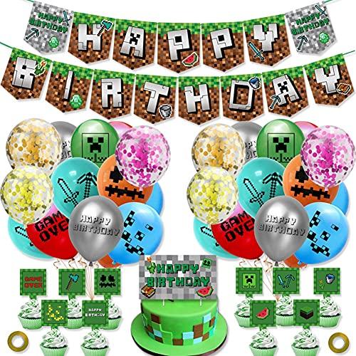 Suministros para fiesta de cumpleaños de Minecraft, videojuego para niños, decoración de fiesta temática menor con pancarta de feliz cumpleaños, globos, adornos para tartas