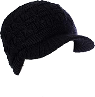 Winter Warm Fashion Knit Adjustable Warm Chenille Lined Winter Knit Visor Beanie Cap with Brim(Black)