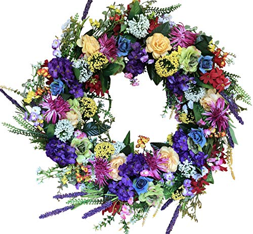 The Wreath Depot Ardmore Spring Front Door Wreath 22 Inch, Gorgeous Faux Spring Flower Wreath, White Storage Gift Box Included