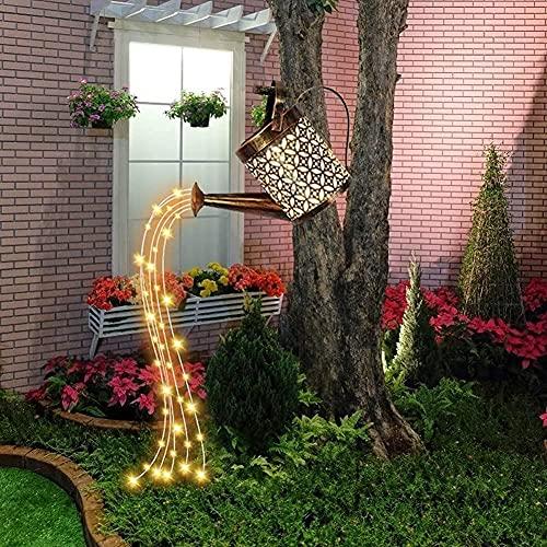 LIUDADA Regadera, cadena de luces para jardín, regadera, luces LED, lámpara solar, cascada, luz artística, para exterior, terraza, balcón, patio, jardín, caminos (con soporte)