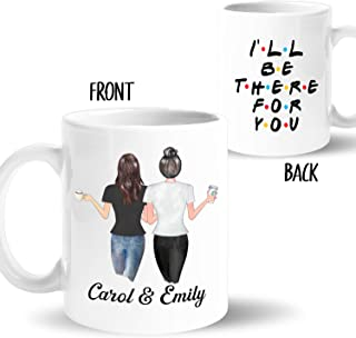 Custom Best Friend Coffee Mug for Women, BFF Personalized Cup with Names, Hairstyles, T-Shirts, Customized Text for Besties, Long Distance Friendship, Soul Sisters, Friend�s Birthday Gift, BFF (11 oz)