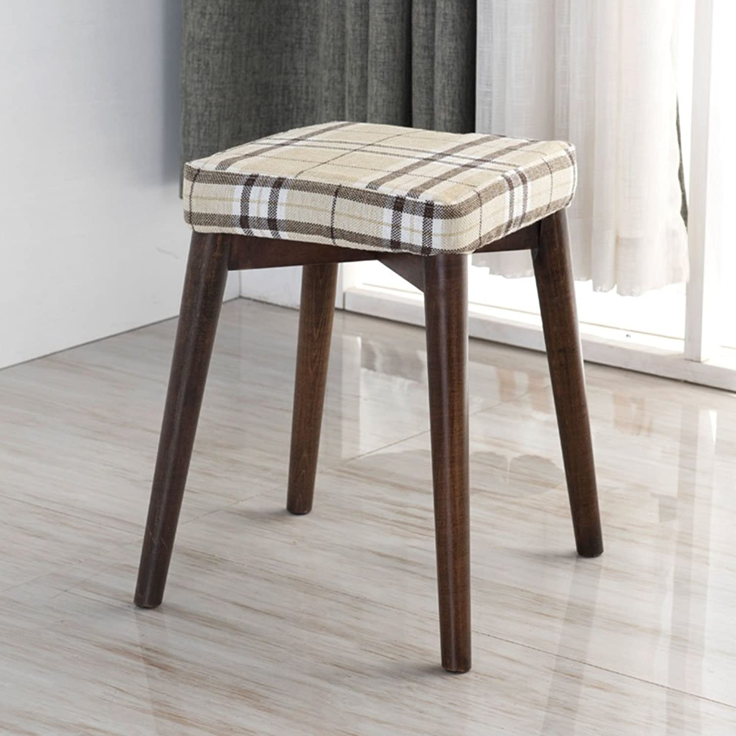 QIDI Stool Solid Wood Dining Chair Simple Cloth Dress Up Stool Fashion 33  33  46cm (color   Style 7)