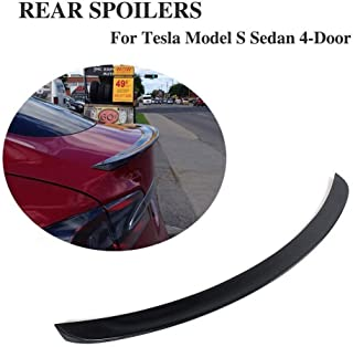 JC SPORTLINE fits Tesla Model S 60D 75D P85 P90D P100D 2012-2019 Carbon Fiber Rear Trunk Spoiler CF Deck Lip Wing(Gloss Black)