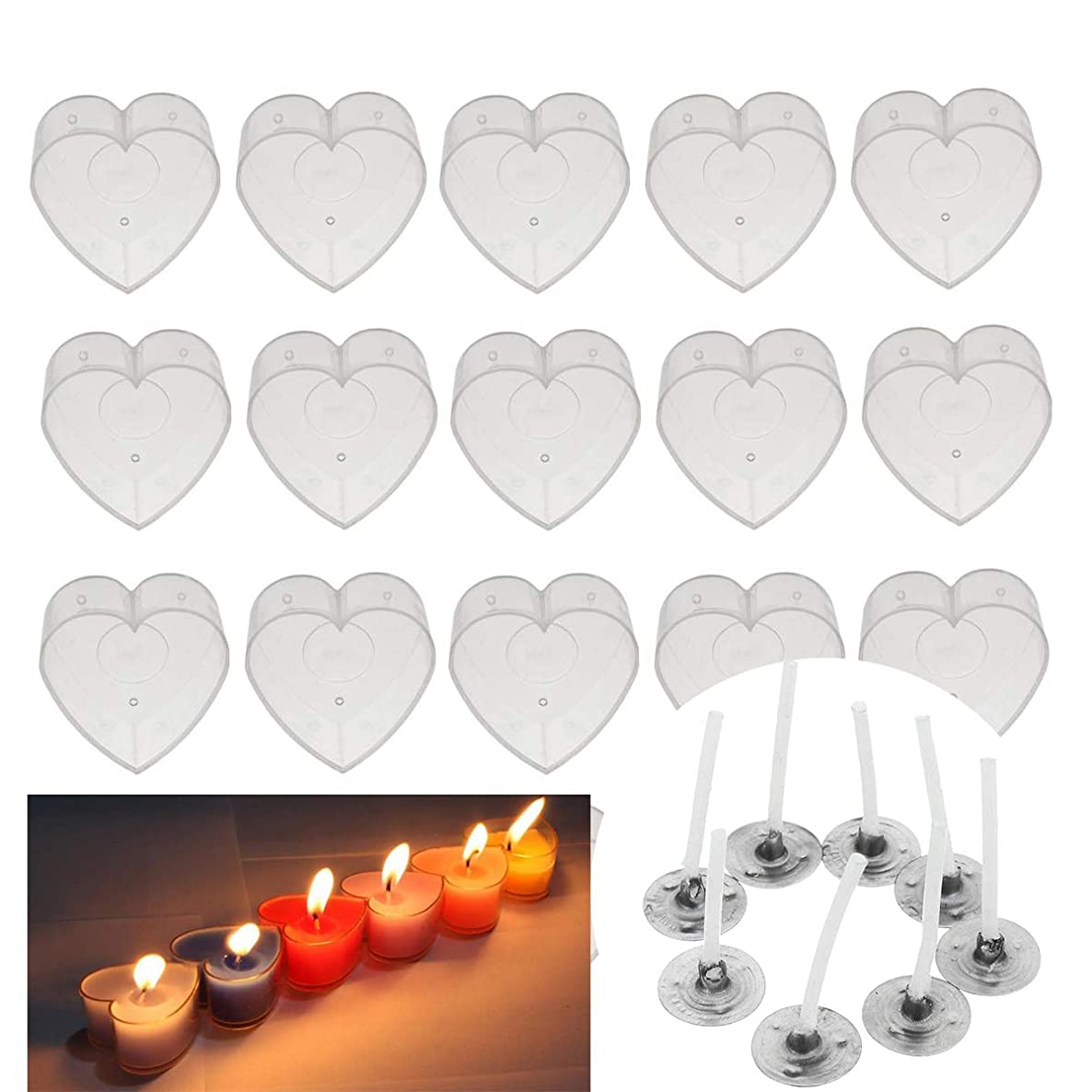 Chris.W 24 Pcs Plastic Clear Heart Tealight Cups Holders with 24 Pcs 25mm Candle Wicks for DIY Candle Making