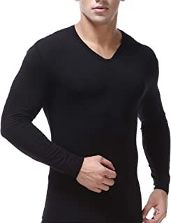 Men's Extended Modal Thermal Active V Neck Fitness Fleece Lined Base Shirt Compression Long Johns Pullover Underwear Shirt