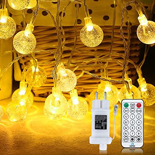 Guirnalda Luces Exterior, IP65 12 Modos Cadena de Luces Impermeable para Exteriores Cable de Extensión de 10M+ 5M Control Remoto Decoraciones de Jardín, Patios, Pérgolas, Navidad(100 LED 15M)