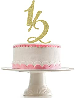 Gold Glittery Half Year Old Cake Topper for Half Year Anniversary Party,Baby's Half Year Old Birthday Party Cake Topper De...