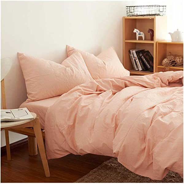 Cazlon Duvet Cover For Weighted Blanket 60 X80 Pink 100 Washed Cotton 8 Ties Just Duvet Cover