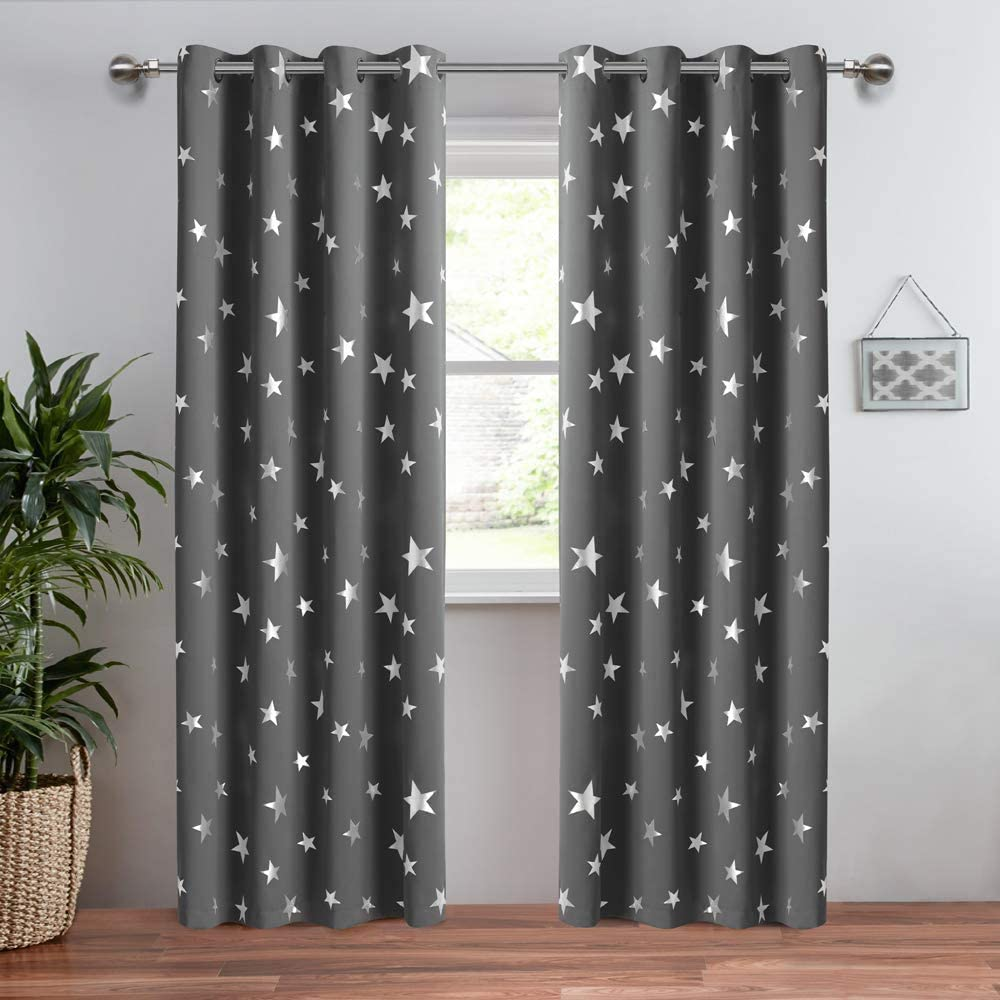 Anjee Navy Blue Star Print Kids Room Curtains 2 Panels Thermal Insulated Blackout Curtains//Thick Window Drapes for Nursery and Game Room W52 x L84 Inches