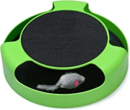 FYNIGO Cat Interactive Toys with a Running Mice and a Scratching Pad,Catch The Mouse,Cat Scratcher Catnip Toy,Green