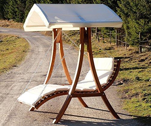 Design Hollywoodschaukel Gartenschaukel Hollywoodliege Doppelliege aus Holz Lärche mit Dach Modell: 'ARUBA' von AS-S - 6