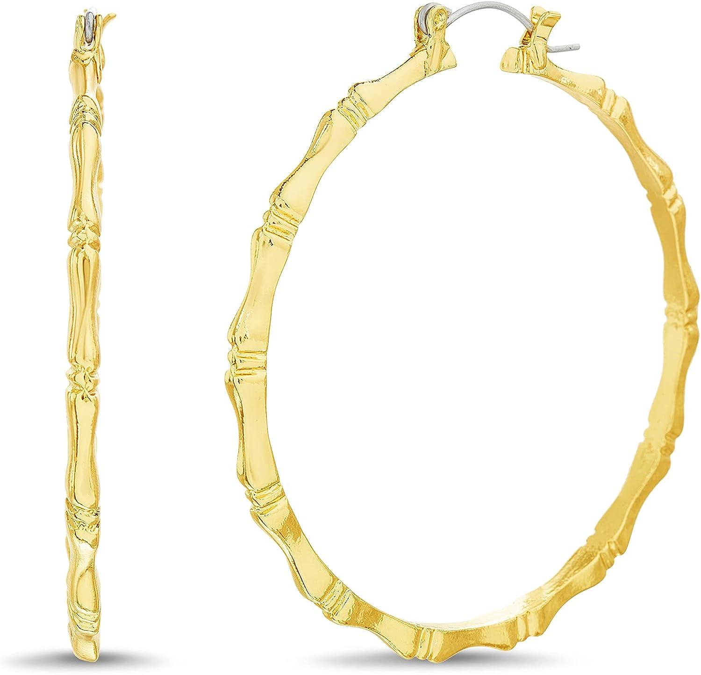 Steve Madden 55mm Yellow Thin Bamboo Hoop Earrings for Women