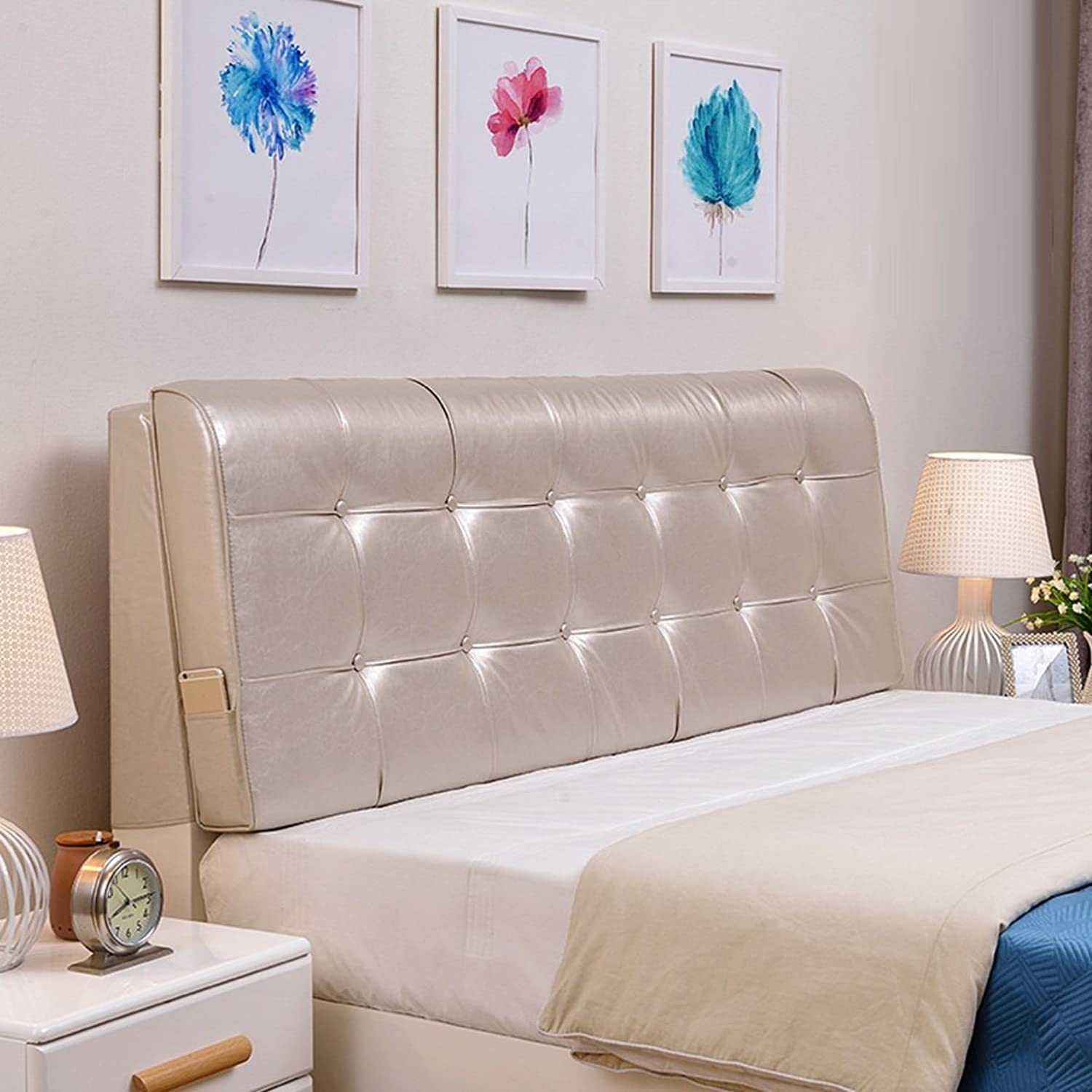 WENZHE Upholstered Fabric Headboard Bedside Cushion Pads Cover Bed Wedges Backrest Waist Pad Large Back Double Multifunction Easy To Clean, There Are Headboards, 6 colors, 8 Sizes ( color   3  , Size   With headboard-120cm )