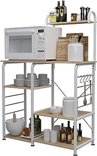 sogesfurniture Estante de Cocina Estantería para Microondas Estantería Metálica 3 + 4 Niveles Bakers Rack Soporte para C...
