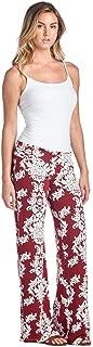 Designer97 Daisy Printing Womens Trousers Harem Wide Leg Palazzo Pants Large Wine Red