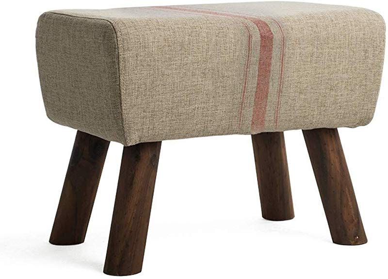 Carl Artbay Wooden Footstool Sofa Solid Wood Shoes Bench Fabric Block Living Room Footstool Small Simple Modern Shoes Bench Cotton Linen Material Home Size C