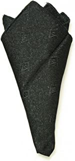 Masonic Pocket Square Black Brocade Fabric Square and Compasses Woven In