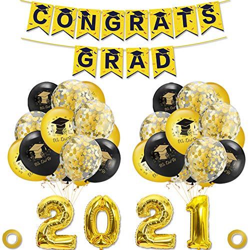 45 piezas decoraciones de graduación 2021 graduación foto cabina accesorios globos cinta Felicidades Grad Banner (set1,0317)