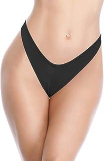 SHEKINI Women's Ruched Back Thong Bikini Bottom Sexy Brazilian Cheeky Swimsuit Bottom