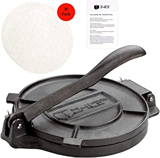 D-ICE Tortilla Press – 8 Inch Pre Seasoned Cast Iron Roti Press, Corn Tortilla Press, Pataconera, Tortilladora - 30 Pre-Cut Round Non-Stick Parchment Wax Paper