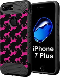 iPhone 7 Plus Case, Capsule-Case Quantum Hybrid Dual Layer Slim Armor Case (Black) for iPhone 7 Plus - (Pink Horse)